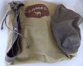 Camel Canvas Duffel Bag, Vintage Carry On Bag, Canvas Overnite Bag, Weekender Bag