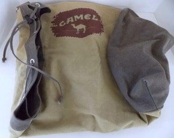 Camel Duffel Bag, Vintage Carry On Bag, Canvas Overnite Bag, Weekender Bag, Travel Bag, Shoulder Bag
