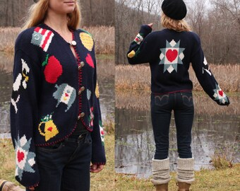 Ugly Sweater Novelty Kitsch Hand Knit Scene M Cotton Ramie Cardigan Vintage 90s Medium . Pig Cow Pineapple Hearts Apple Schoolhouse Flag
