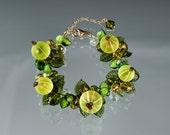 Gooseberry Bracelet, adjustable length w lobster clasp, Glass lampwork beads.  Art glass sculpture bracelet w green gooseberries.