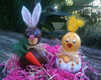Bunny Painted Gourd  Easter Spring Chickens Flowers Decor Set of 2