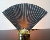 Brass Shell Fan Lamp - Hollywood Regency Table Nightlight Lamp