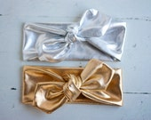 Metallic Silver/Gold - Jersey Headband // Knot Headband // Jersey Knit //Head Wrap // Tie Headband- for girls of all ages