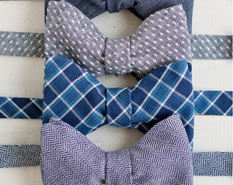 The Beau- Callaway Collection- men's chambray freestyle self-tie bow ties