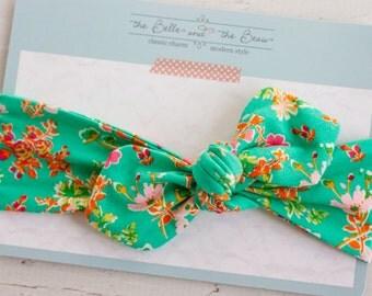 Aqua Floral Jersey Headband // Knot Headband // Jersey Knit //Head Wrap // Tie Headband- for infants, toddler, girls, teens, and women