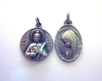 Vintage Sterling Religious Medals Virgin Mary Saint Jude Creed Sterling Medal