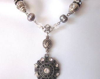 Assemblage Rhinestone Necklace Pearl Bridal Jewelry Repurposed Vintage Jewelry