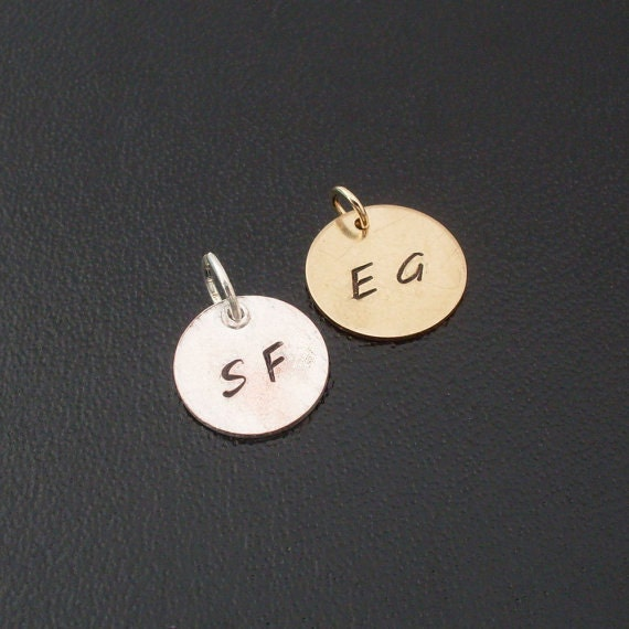 Add a customized initial charm to a bangle from my shop - Gold Filled or Sterling Silver, Personalized Initial Charm, Monogram Initial Charm