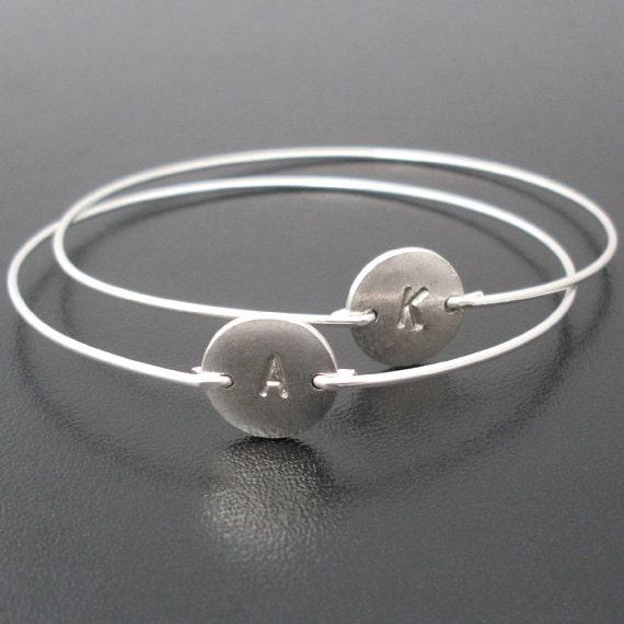 Personalized Silver Bracelet for Women, Bracelet with Initials, Monogram Silver Bracelet, Custom Silver Bracelet, Custom Silver Bangle