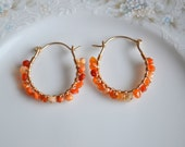 Mexican fire opal and gold wire wrapped hoop earrings, opal earrings, fire opal jewelry