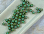 Turquoise 6mm Round Glass Beads 60% off, qty 50
