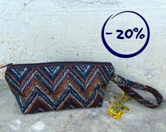 Chevron wristlet zigzag pouch zippered autumn tones brown orange 20% OFF