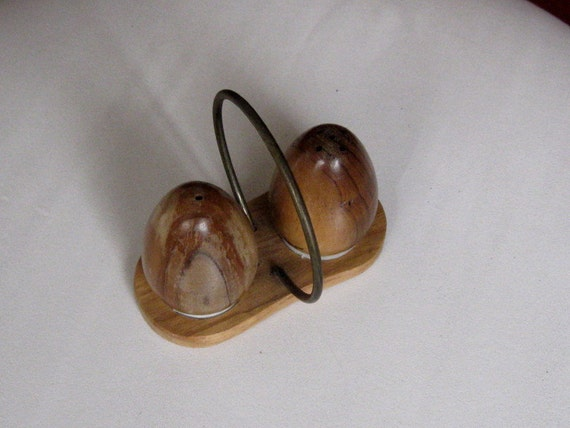 Vintage wood egg shaped salt and pepper by othersideofyesterday - Egg shaped salt and pepper shakers ...