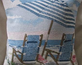 Beachy Scene Handmade Tapestry Pillow