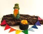 Leprechaun Peg Doll, Pot of Gold and Rainbow Bunting, St. Patricks Day