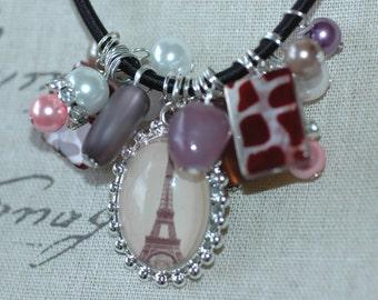 Paris Charm Necklace , Eiffel Tower Charm Necklace