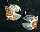 Small, blue fish earrings, oxidized mini copper jewelry