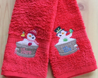 Embroidered His & Her Christmas Hand Towels Set