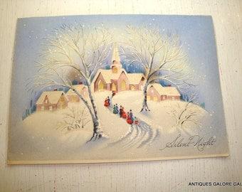Vintage Christmas Card, Silent Night, Church, Snowy Victorian Scene, Mid Century Holiday Greeting Card  (412-15)