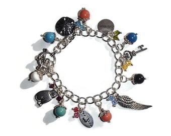 Silver Charm Bracelet. Eclectic Charm Bracelet. Fun Charm Bracelet