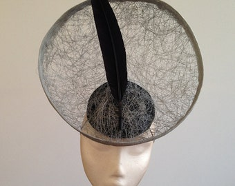 Gonzo - Large Silver & Black Saucer Hat Great for the races, Ascot or a wedding