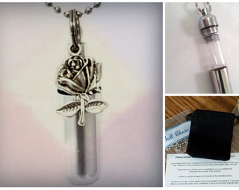 "Complete Set - Silver Rose Cremation Necklace Inclides 24"" Ball Chain, with Velvet Pouch and Fill Kit"