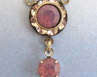Rhinestone Finding Bead Swarovski Crystal connectors in 3 loop  in antique silver setting D-234