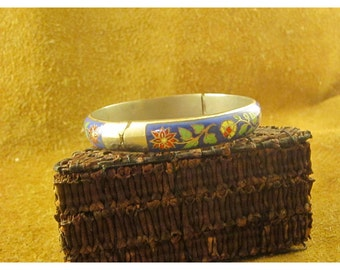 Blue Floral Cloisonné Sterling Silver Hinged Bangle Bracelet  - Thailand Sterling - Vintage Cloisonné Jewelry