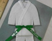 Personalized GREEN Belt- Martial Arts Uniform Christmas Ornament- pErSoNaLiZeD with Name / Year - TaeKwonDo Karate Jiu Jitsu Bando Hapkido