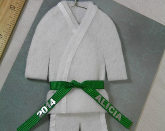 Personalized GREEN Belt- Martial Arts Uniform Christmas Ornament- pErSoNaLiZeD with Name / Year - TaeKwonDo Karate Jiu Jitsu Bando Hapkido