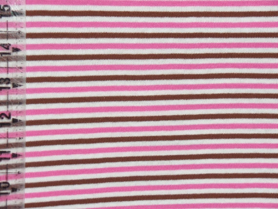 Kids cotton knit fabric yarn dyed stripes pink brown for Kids knit fabric