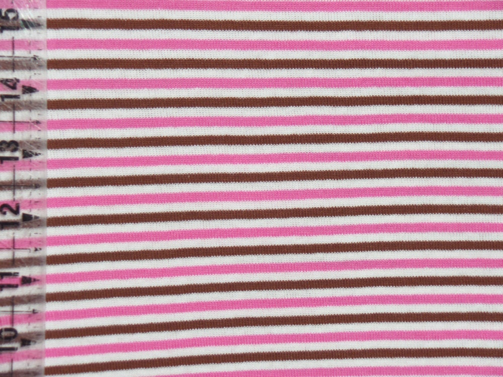 Kids cotton knit fabric yarn dyed stripes pink brown white for Kids knit fabric