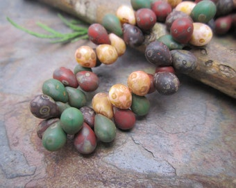 Fall Berries 7x5mm Czech Glass Tear Drops from our Arabesque Collection