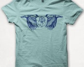 Womens TShirt, Two Finches, Bird Shirt, Screenprint, Graphic Tee - Aqua