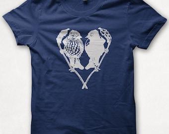 Womens Tshirt Bird Lovers Shirt Lovebirds Screenprinted Graphic Tee - Navy