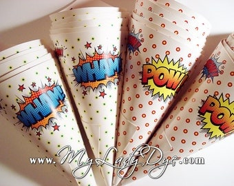 100 MINI Super Hero Popcorn Cones Comic Book Candy Cones - By My Lady Dye