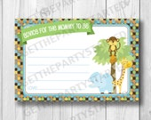 ADVICE CARDS - Printable Advice for the New Mom - Jungle Baby Shower - Instant Download - King of the Jungle Advice Cards - Lion, Monkey