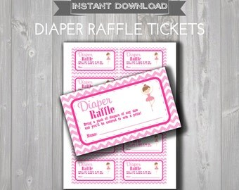 DIAPER RAFFLE TICKETS - Printable Baby Shower Raffle Tickets - Pink Ballerina Baby Shower - Instant Download - Ballerina Raffle Tickets