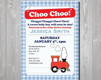 Train Baby Shower Invitation - Red Train Invitation - Digital Printable Invite - Train Invitation - Printable Train Invite - Red & Blue