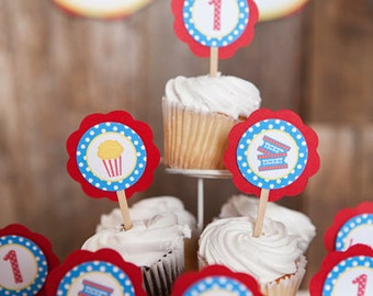 Movie Night Party Cupcake Toppers - Popcorn Birthday Party Decorations - Popcorn Cupcake Decorations - Popcorn Party, Movie Party Decoration