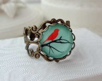Aqua and Red Bird in a Branch Filigree Statement Ring