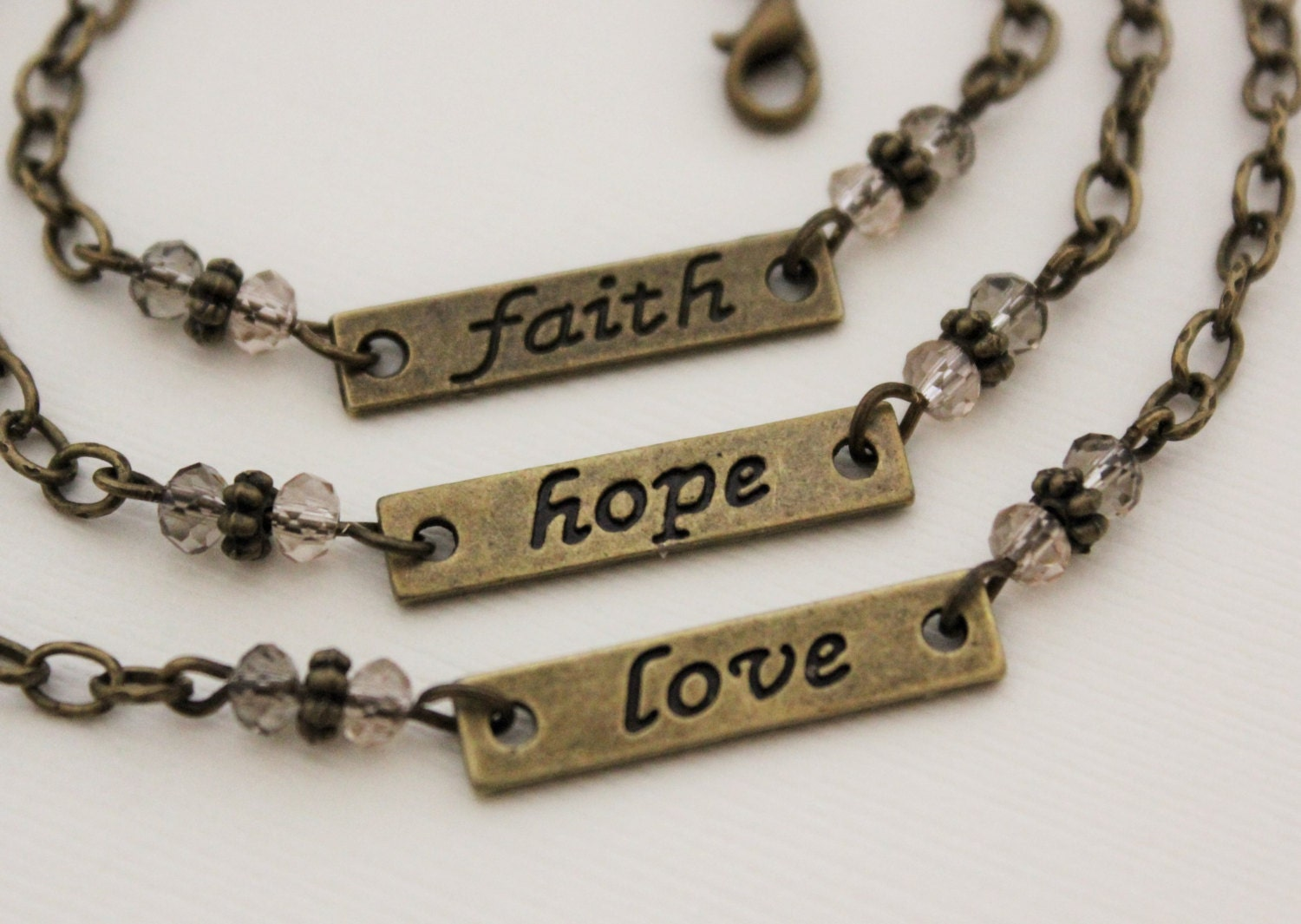 Faith hope or love bracelet in antique brass by for Faith hope love jewelry