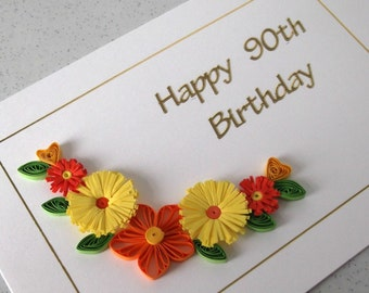 Quilled 90th birthday card, handmade, quilling design, can be for any age