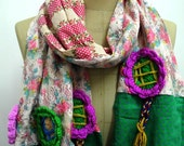Teen girls patchwork scarf, Pink Flower fabric, Cream lace ,hand crochet Flower, one of a kind scarf, unique, cute, autumn, lovely..........