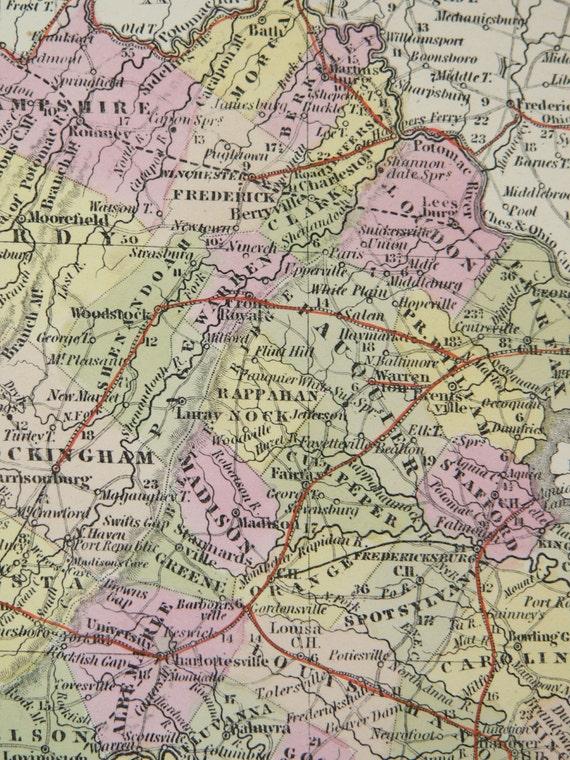 1855 Antique Map Virginia before West Virginia Map 1855