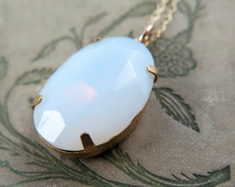 Opal Necklace, White Opal Pendant, Opal Jewelry, October Birthstone Jewelry, Opal Gift,  Gift for Her