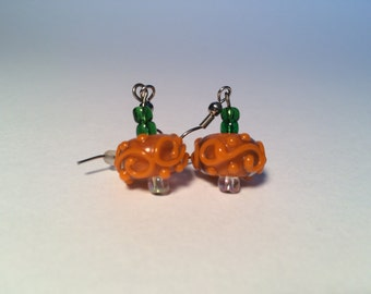 Halloween Pumpkin Lampwork Earrings, Halloween Earrings, Pumpkin Earrings