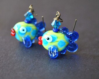 Tropical Fish Earrings, Lampwork Glass Earrings, Green Earrings, Whimsical Earrings