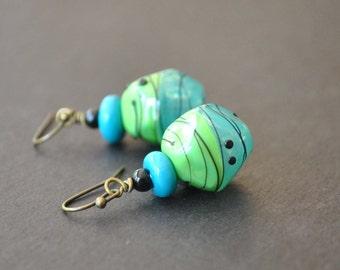 Blue Green Earrings, Hollow Glass Earrings, Abstract Earrings, Dangle Earrings, Glass Bead Earrings