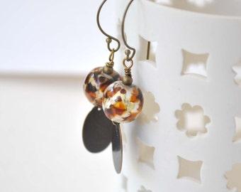 Leopard Earrings, Brass Drop Earrings, Dangle Earrings, Lampwork Bead Earrings, Metal Earrings